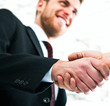 Handsome businessman shaking hands