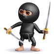 3d Ninja with two Katana swords