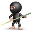 3d Ninja holds a sturdy bamboo pole.