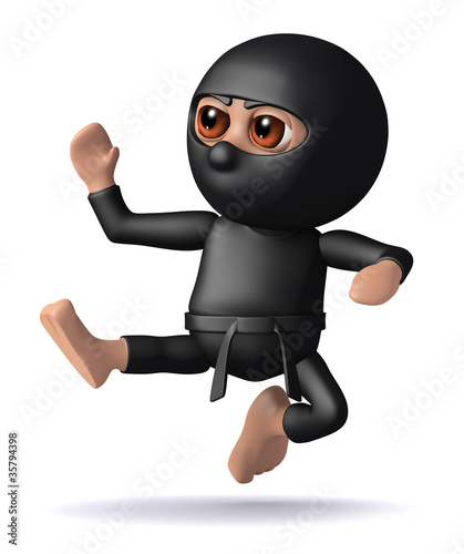 3d Ninja does soome Kung Fu moves on the enemy.
