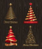 Vector set - golden decorative Christmas trees