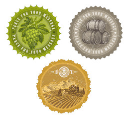 Hand drawn vector vintage labels  - viticulture and winemaking