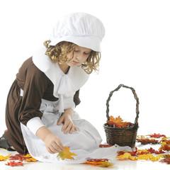Pilgrim Girl Collecting Leaves