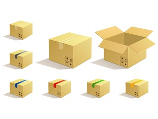 Cardboard parcel. Box package icons