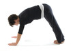 female yoga position downward facing dog pose