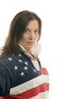 cute middle age woman patriotic American flag rugby shirt