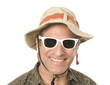 senior tourist wearing funny hat sunglasses