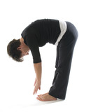 female yoga position toe touch hamstring stretch