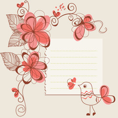 Flowers and bird romantic card