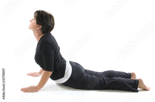 female yoga position cobra elbow press