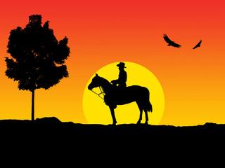 Cowboy enjoying the sunset