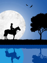 Cowboy on the lake on a moonlight night