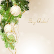light Christmas background with white evening balls