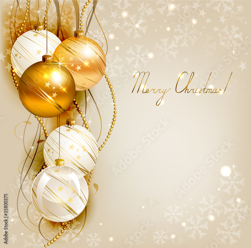 Christmas background with gold and white evening balls