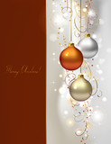 elegant  glimmered Christmas background with three evening balls poster
