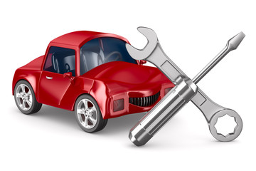 Car-care centre on white background. Isolated 3D image