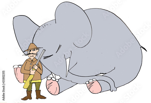 Hunter and elephant