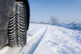 Snow tyre on track