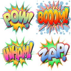 A Selection of Comic Book Illustrations Bang Bam Wow Splat