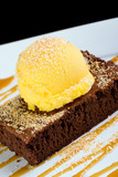 Brownie and Mango Sorbet with caramel sauce for dessert