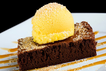 Brownie with mango sorbet
