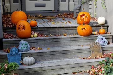 Halloween Decorations on the front Steps