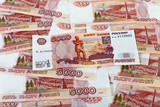 Money background of russian roubles.  Banknotes one thousand rub poster