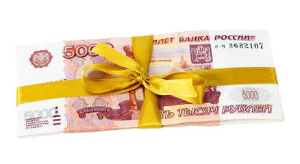 5000 russian rubles wrapped by ribbon isolated on white backgrou