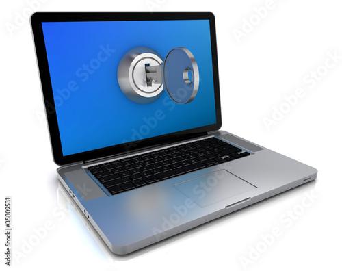 Laptop mit Schlüssel