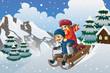 Kids sledding in the snow