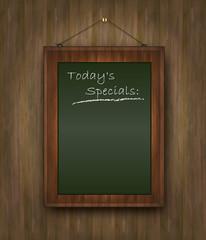 blackboard wood menu Todays special green