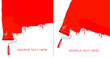 Red roller painting the white wall. Two backgrounds vector