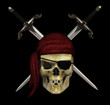 Pirate Skull with Daggers - on Black