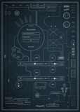 blueprint infographics drawing a schematic abstraction poster