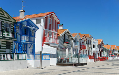 Typical beach houses of Costa Nova, Portugal.