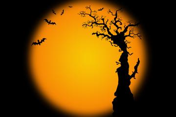Hallowwen background illustration with bat tree