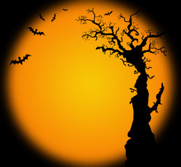 Hallowwen background illustration with bat tree