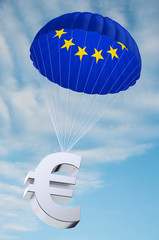 Parachute with the EU flag on it holding a Euro currency symbol