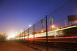 Blurred train at Los Angeles at night