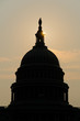 Capitol dome silhouette in sunset - Washington DC USA