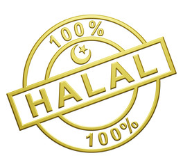 """100% Halal"" Cachet (or)"