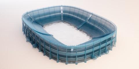 stadio cristallo vuoto modello 3d plastico