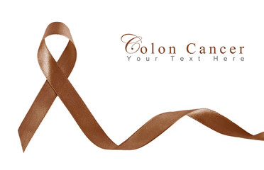 Brown Ribbon a Symbol of Colon Cancer with copy space