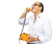 middle aged man talking on telephone