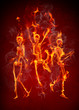 Dancing fiery skeletons
