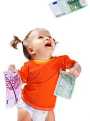Child with euro money.How much it costs to have a baby?