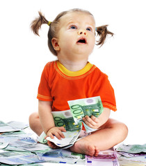 Child with euro money. How much it costs to have a baby?
