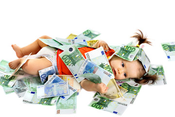 Child with euro money. How much it costs to have a baby
