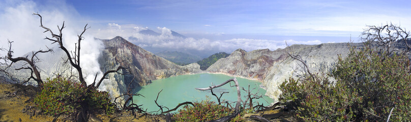 Lake in a crater of volcano Ijen