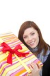 beautiful young woman with a present (white background)